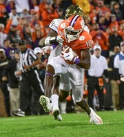Clemson wide receiver Joseph Ngata (10) scores against Wake Forest during the fourth quarter at Memorial Stadium in Clemson, South Carolina Saturday, November 16, 2019.