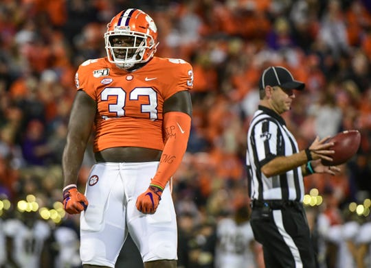 Clemson defensive lineman Ruke Orhorhoro(33) reacts after making a tackle against Wake Forest during the fourth quarter at Memorial Stadium in Clemson, South Carolina Saturday, November 16, 2019.