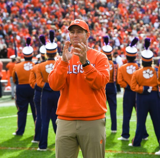 Clemson Head Coach Dabo Swinney during senior day ceremonies before the game at Memorial Stadium in Clemson, South Carolina Saturday, November 16, 2019.