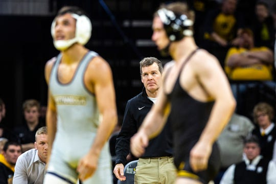"Tom Brands says that Spencer Lee, right, was ""robbed of history"" when the COVID-19 pandemic concerns cancelled the 2020 NCAA Wrestling Championships."