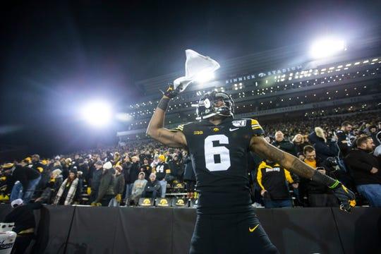 Iowa wide receiver Ihmir Smith-Marsette (6) celebrates after a NCAA Big Ten Conference football game, Saturday, Nov., 16, 2019, at Kinnick Stadium in Iowa City, Iowa.