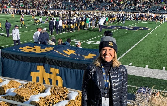 Martha MacCallum at the Notre Dame game Nov. 16 when the team, including her son Reed Gregory, took on Navy.