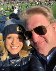 Fox News anchor Martha MacCallum and husband Daniel Gregory at the Notre Dame game Nov. 16 to watch their son, Reed Gregory.