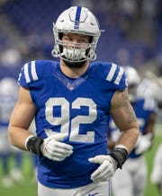 Margus Hunt of the Indianapolis Colts, pregame, Jacksonville Jaguars at Indianapolis Colts, Lucas Oil Stadium, Indianapolis, Nov. 17, 2019.