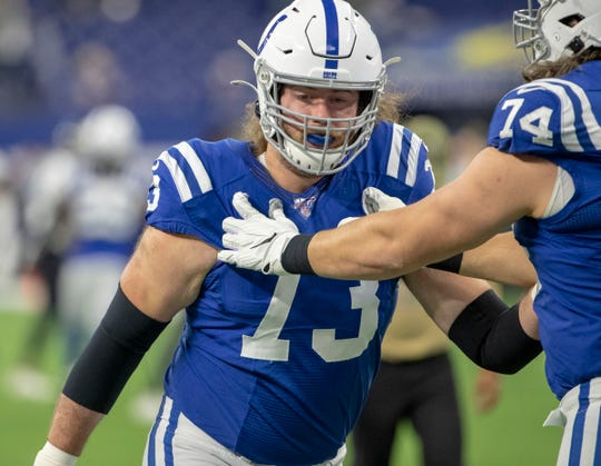 Joe Haeg of the Indianapolis Colts warms up during pregame, Jacksonville Jaguars at Indianapolis Colts, Lucas Oil Stadium, Indianapolis, Nov. 17, 2019.