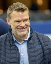 Chris Ballard, General Manager for the Colts, on field during pregame, Jacksonville Jaguars at Indianapolis Colts, Lucas Oil Stadium, Indianapolis, Nov. 17, 2019.