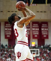Indinaa Hoosiers forward Damezi Anderson (23) shoots the ball during the game against Troy at Simon Skjodt Assembly Hall in Bloomington, Ind., on Saturday, Nov. 16, 2019.