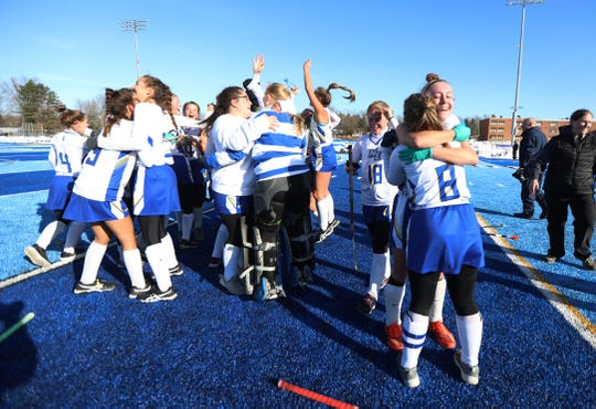 Maine-Endwell won their New York State Class A field hockey championship game, 2-1, against Horace Greeley at Alden High School.