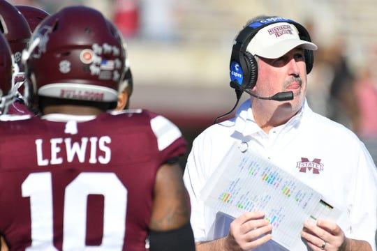 Mississippi State head football coach Joe Moorhead.