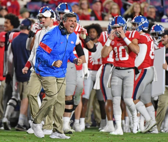 Mississippi coach Matt Luke reacts after LSU missed a field goal during the first half of an NCAA college football game in Oxford, Miss., Saturday, Nov. 16, 2019. (AP Photo/Thomas Graning)