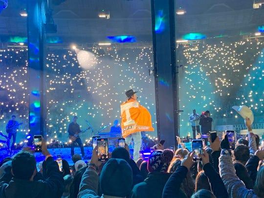 Garth Brooks gets into the Vols spirit at Neyland Stadium on Nov. 16, 2019.