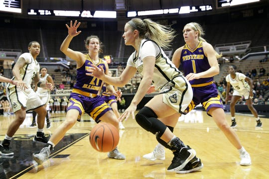 Purdue guard Karissa McLaughlin (1) dribbles to the net during the third quarter of a NCAA women's basketball game, Sunday, Nov. 17, 2019 at Mackey Arena in West Lafayette.