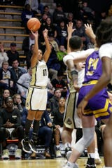 Purdue guard Dominique Oden (11) goes up for three during the fourth quarter of a NCAA women's basketball game, Sunday, Nov. 17, 2019 at Mackey Arena in West Lafayette.