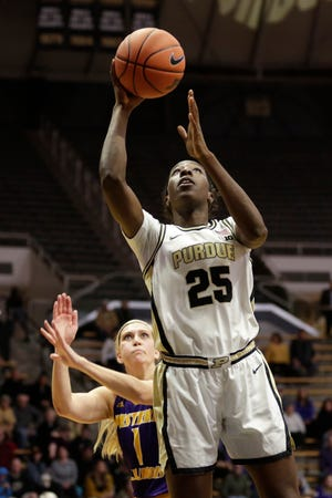 Purdue guard Tamara Farquhar (25) goes up for a layup during the fourth quarter of a NCAA women's basketball game, Sunday, Nov. 17, 2019 at Mackey Arena in West Lafayette.