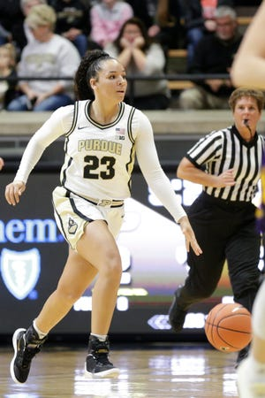 Purdue guard Kayana Traylor (23) dribbles down the court during the first quarter of a NCAA women's basketball game, Sunday, Nov. 17, 2019 at Mackey Arena in West Lafayette.