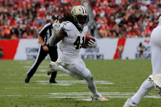 New Orleans Saints running back Alvin Kamara (41) runs against the Tampa Bay Buccaneers during the first half of an NFL football game Sunday, Nov. 17, 2019, in Tampa, Fla. (AP Photo/Mark LoMoglio)