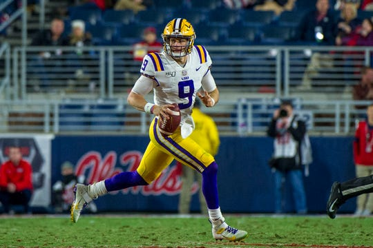 Nov 16, 2019; Oxford, MS, USA; LSU Tigers quarterback Joe Burrow (9) during the first half against the Mississippi Rebels at Vaught-Hemingway Stadium. Mandatory Credit: Justin Ford-USA TODAY Sports