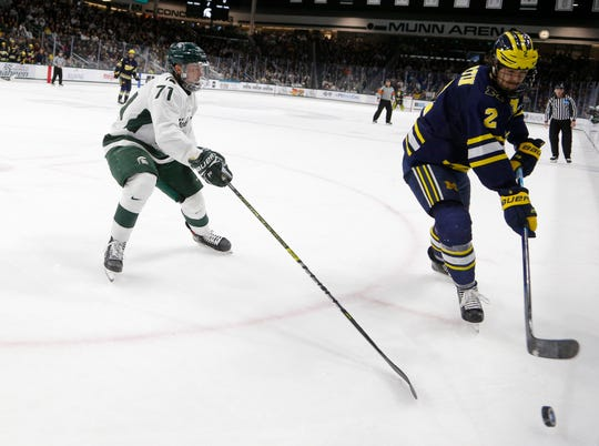 Michigan State's Logan Lambdin, left, and Michigan's Luke Martin vie for the puck, Saturday, Nov. 16, 2019, in East Lansing, Mich. Michigan State won 3-0.