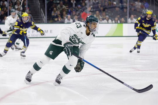 Michigan State's Jagger Joshua (23) plays against Michigan, Saturday, Nov. 16, 2019, in East Lansing, Mich. Michigan State won 3-0.