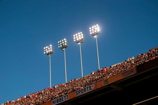 Stadium lights as Auburn takes on Georgia at Jordan-Hare Stadium in Auburn, Ala., on Saturday, Nov. 16, 2019. Georgia defeated Auburn 21-14.