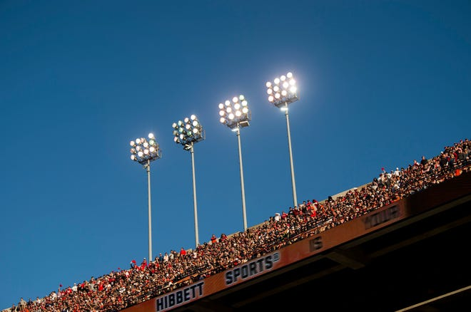 Stadium lights as Auburn takes on Georgia at Jordan-Hare Stadium in Auburn, Ala., on Saturday, Nov. 16, 2019. Georgia defeated Auburn 21-14.