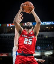 Ball State redshirt senior forward Tahjai Teague makes a move with the ball against Indiana State at Bankers Life Fieldhouse Sunday, Nov. 17, 2019.