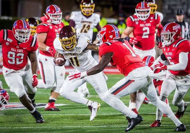 Ball State faces off against Central Michigan during their game at Scheumann Stadium Saturday, Nov. 16, 2019.