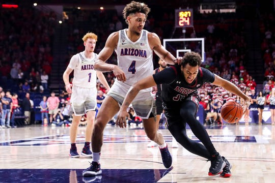 The NMSU Aggies face off against the Arizona Wildcats at McKale Center in Tucson on Sunday, Nov. 17, 2919.