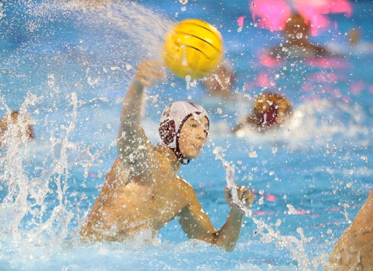 Rancho Mirage's Andres Hernandez scores a goal against Ontario during their CIF-SS Division 7 championship game in Irvine, Calif., on November 16, 2019. Rancho Mirage won 11-9.