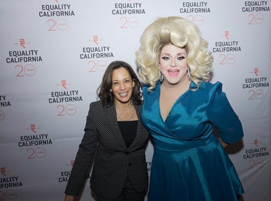 """Kamala Harris attends Equality California's """"Dems, Drinks and Drag Queens"""" event at Hamburger Mary's in Long Beach, Calif. during the California Democratic Party Convention on November 15, 2019"""