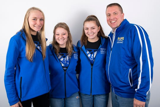 (From left) Kennard-Dale girls' basketball players Lexie Kopko, Chandler Swanson and Jaedyn McKeon pose with head coach Aaron Eaton in the GameTimePA photo booth during YAIAA winter sports media day at the York Daily Record on Sunday, November 17, 2019.