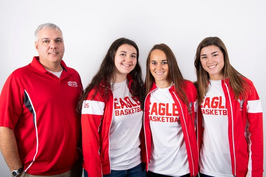 (From left) Bermudian Springs girls' basketball head coach Todd Askins and players Emily Shearer, Skyler West and Bailey Oehmig pose in the GameTimePA photo booth during YAIAA winter sports media day at the York Daily Record on Sunday, November 17, 2019.