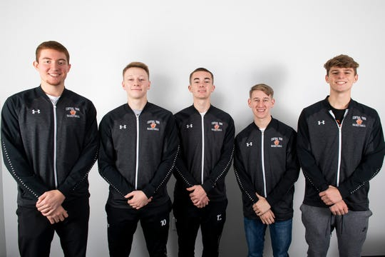 (From left) Central York boys' basketball players Gabe Guidinger, Evan Eisenhart, Mitch Saxton, Allen Frey and Trey Sweigert pose in the GameTimePA photo booth during YAIAA winter sports media day at the York Daily Record on Sunday, November 17, 2019.
