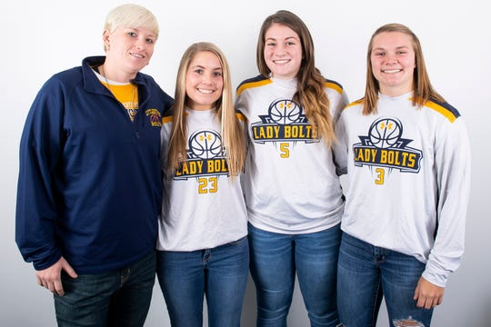 (From left) Littlestown girls' basketball head coach Kelsey Wantz poses with players Olivia Study, Grace Midkiff and Molly Watkins pose in the GameTimePA photo booth during YAIAA winter sports media day at the York Daily Record on Sunday, November 17, 2019.