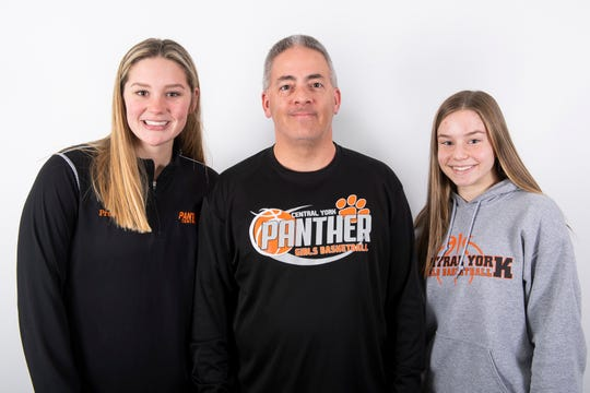 (From left) Central York girls' basketball team members Emily Prowell, head coach Scott Wisner and Sarah Berman pose in the GameTimePA photo booth during YAIAA winter sports media day at the York Daily Record on Sunday, November 17, 2019.