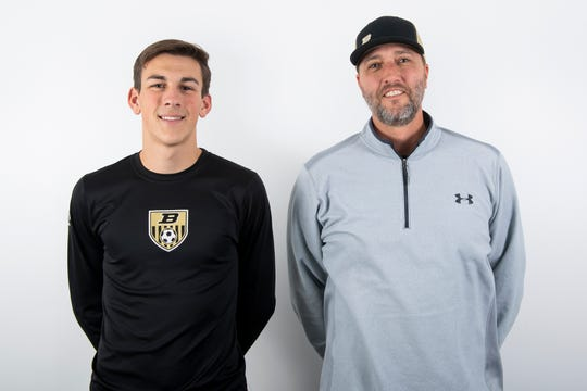 Biglerville boys' basketball player Colby Martin and head coach Neil Weigle pose in the GameTimePA photo booth during YAIAA winter sports media day at the York Daily Record on Sunday, November 17, 2019.