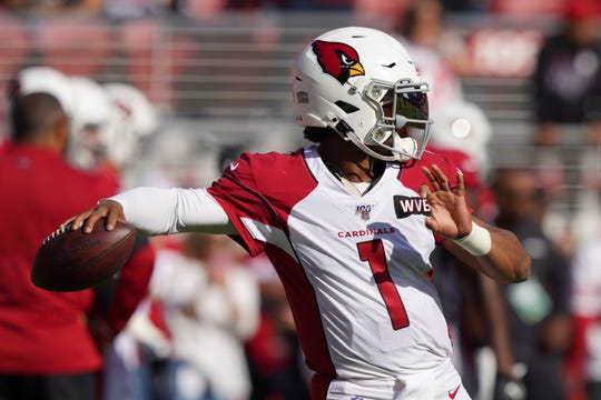 November 17, 2019; Santa Clara, CA, USA; Arizona Cardinals quarterback Kyler Murray (1) warms up before the game against the San Francisco 49ers at Levi's Stadium. Mandatory Credit: Kyle Terada-USA TODAY Sports