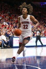 Nov 14, 2019: Arizona Wildcats forward Zeke Nnaji (22) dribbles the ball against the San Jose State Spartans in the second half at McKale Center.