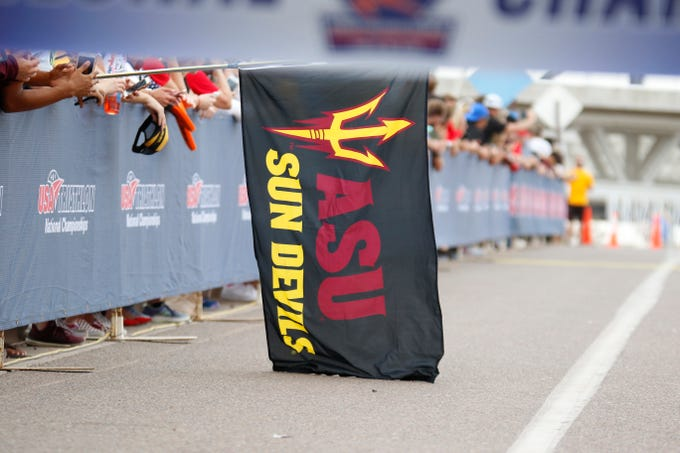 An Arizona State flag hangs on the final stretch of the 2019 National Triathlon Championships on Nov. 16, 2019 in Tempe, AZ. (Brady Klain/The Republic)