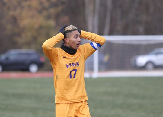 Rhinebeck's Nakoa Zuger (17) reacts after defeasing Lansing 1-0 in the NYSPHSAA boys Class C state soccer final at Middletown High School on Sunday, November 17, 2019.