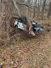 A man was transferred to the hospital Sunday morning after crashing into a tree on Sunday, Nov. 11, 2019.