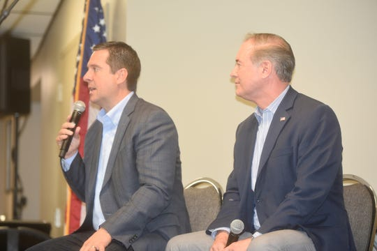 Rep. Devin Nunes, R-California, left, speaks at an event hosted by the Franklin County Republican Party on Saturday, Nov. 16, 2019, at Franklin Fire Company. He was a special guest of Rep. John Joyce, R-Pennsylvania, right.