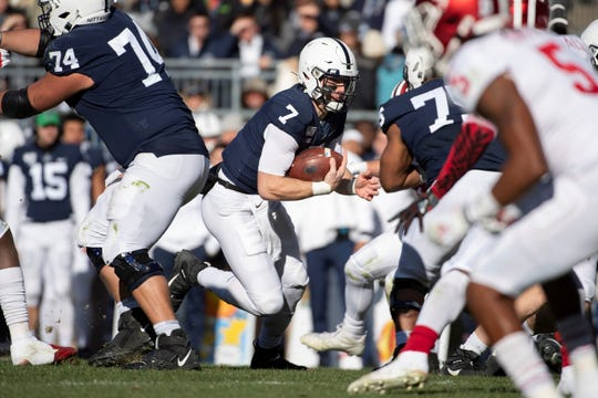 Penn State quarterback Will Levis (7) carries against Indiana in the first half of an NCAA college football game in State College, Pa., on Saturday, Nov.16, 2019. Penn State defeated 34-27. (AP Photo/Barry Reeger)