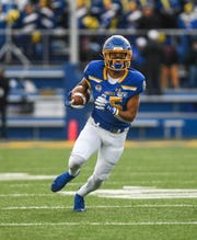 SDSU's Cade Johnson (15) runs the ball down the field during a Missouri Valley Football Conference game against Northern Iowa on Saturday, Nov. 16, 2019, at Dana J. Dykhouse Stadium in Brookings, S.D.