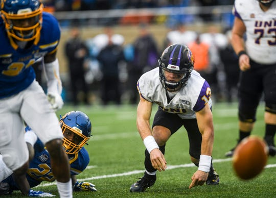 Northern Iowa fumbles the ball during a Missouri Valley Football Conference game against SDSU on Saturday, Nov. 16, 2019, at Dana J. Dykhouse Stadium in Brookings, S.D.