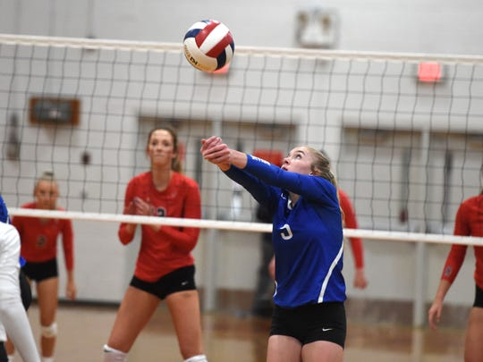 Maddie Painter passes the ball in Fort Defiance's season-ending loss to Lord Botetourt Saturday, November 16, in the Class 3 state quarterfinals.