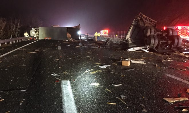 A photo provided by Virginia State Police shows the aftermath of a crash early Sunday morning on Interstate 64.