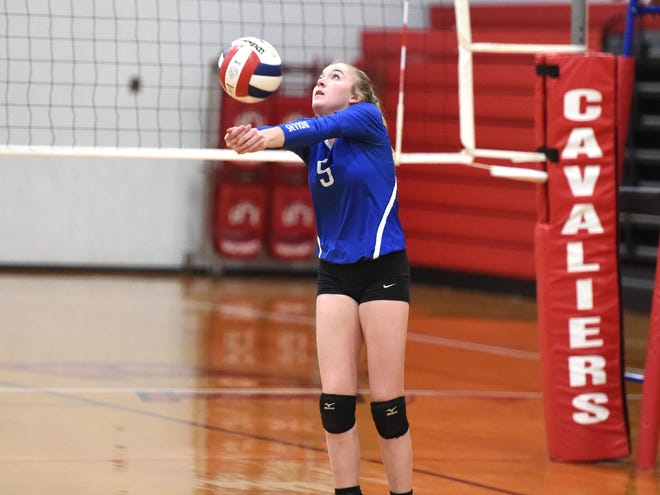 Maddie Painter prepares for a pass in Fort Defiance's season-ending loss to Lord Botetourt Saturday, November 16, in the Class 3 state quarterfinals.