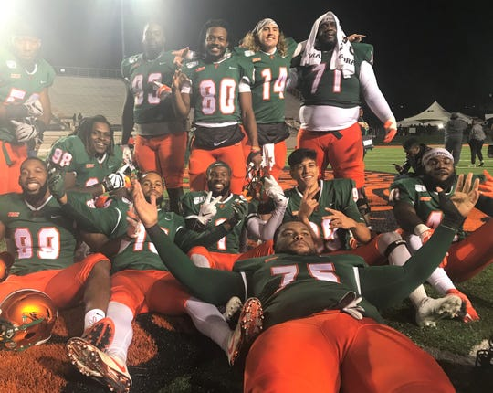 FAMU seniors celebrate their final game at Bragg Memorial Stadium with a 39-7 win over Howard on Nov. 16, 2019.
