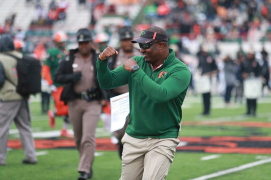 FAMU head coach Willie Simmons shows his strength in leading the Rattlers.
